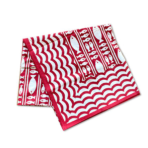 Red Fish | Block Print Tablecloth