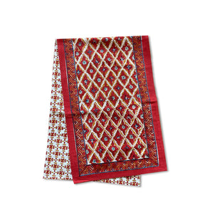 Red Floral Diamonds | Block Print Table Runner