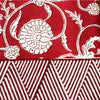 Red Floral Block Print Tablecloth