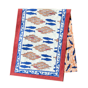Salmon Block Print Table Runner