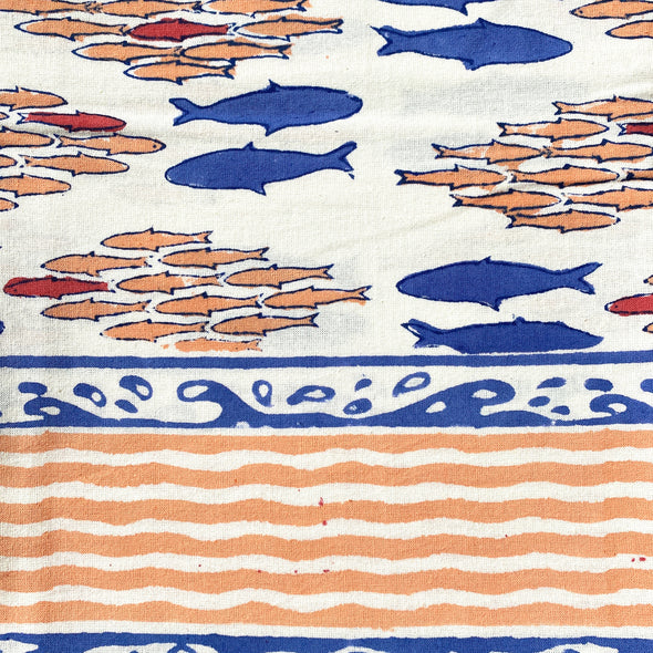 Salmon Block Print Tablecloth