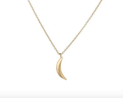 Small Wisp Moon Necklace | 14k Vermeil