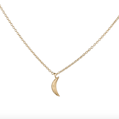 Micro Wisp Moon Necklace | 14k Vermeil