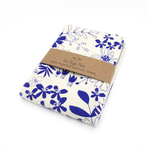 Cotton Flower Sack Kitchen Towel |  Blue Floral