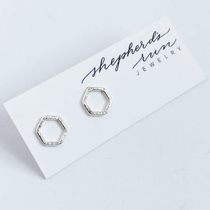 Tiny Hex Studs | Silver