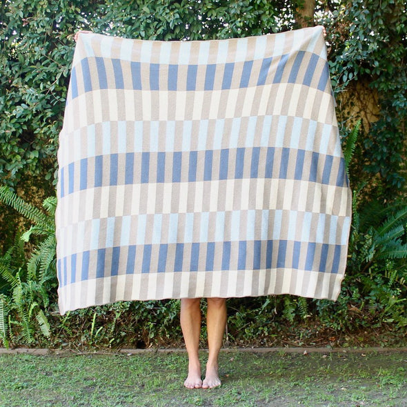 Throw Blanket | Lanai | blues-mushroom-linen