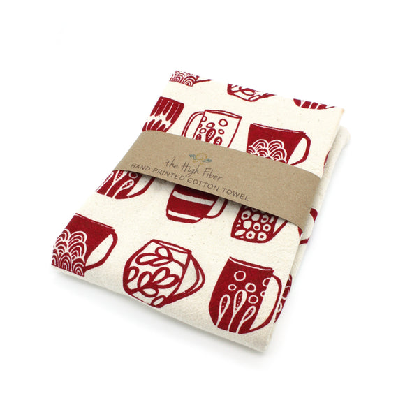 Cotton Flower Sack Kitchen Towel |  Red Mugs