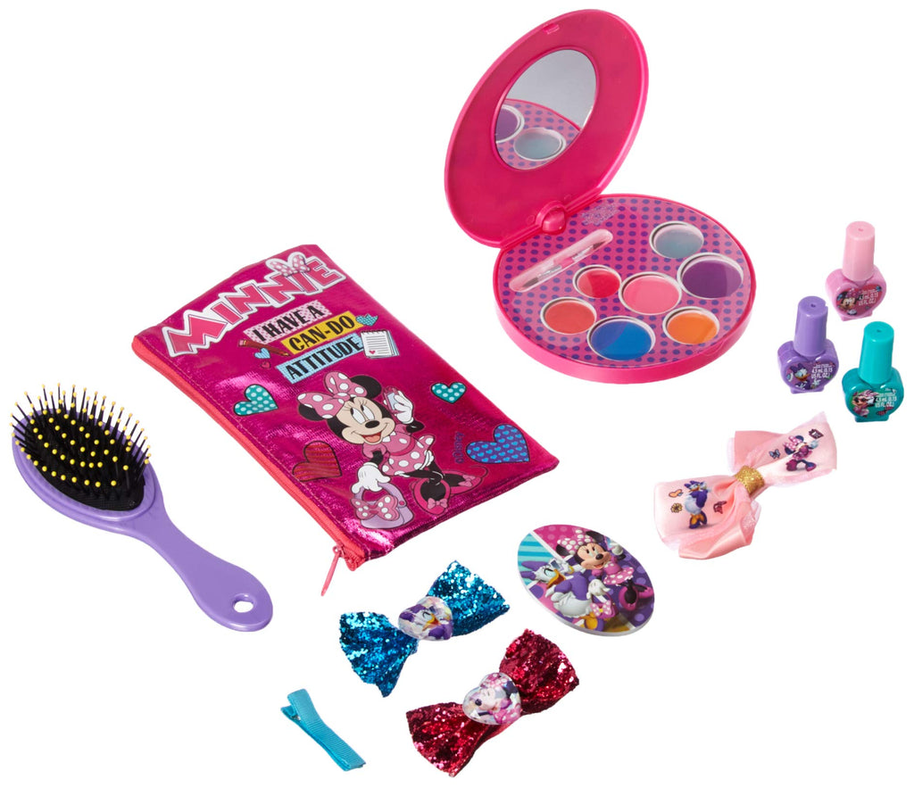 Townley Girl Minnie Mouse Cosmetic Set with Lip Gloss, Nail Polish, Hair  Accessories, Brush, Mirror, and More