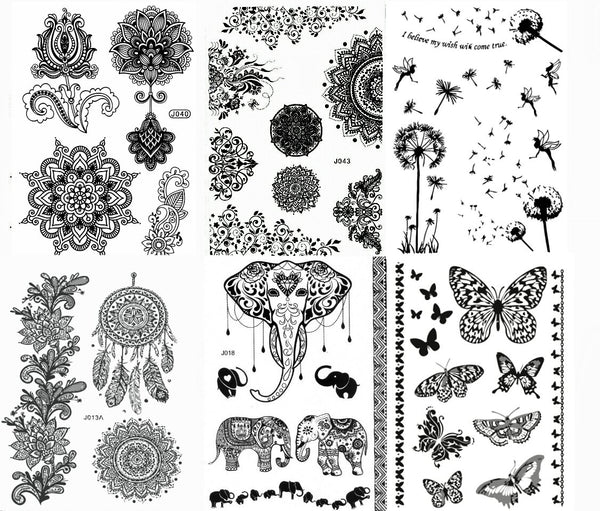 Black Henna Body Paints Temporary Tattoo Designs (Pack of