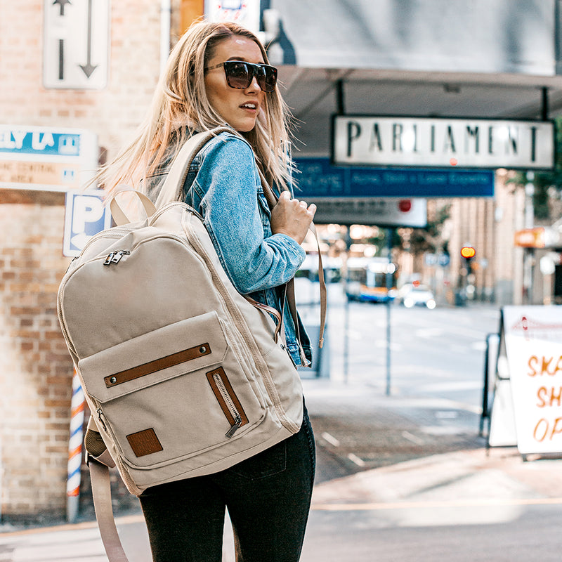 Women in city beige cream backpack work bag gym bag recycled travel bag