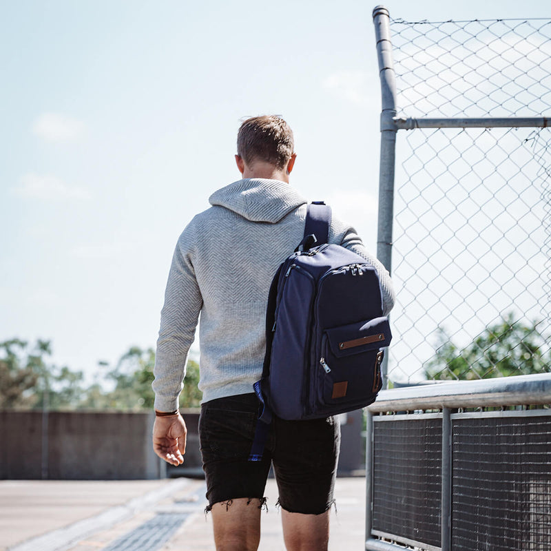 Man walking with Navy Blue Backpack gym bag travel bag recycled