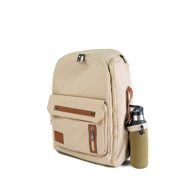 Beige Cream backpack travel bag carry on gym bag water bottle holder recycled