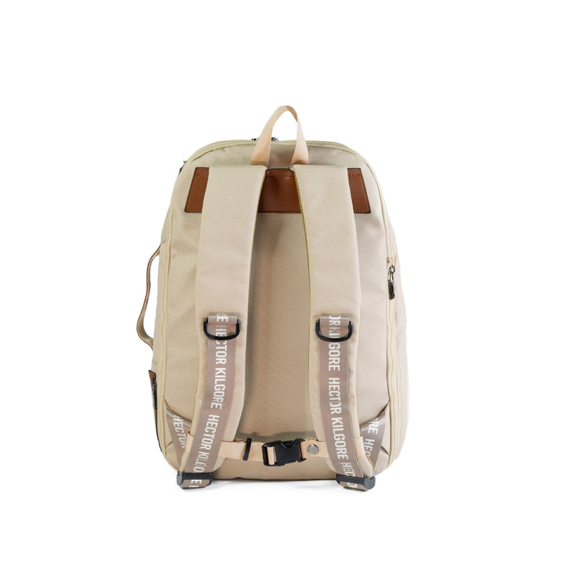 Beige Cream backpack travel bag carry on gym bag recycled