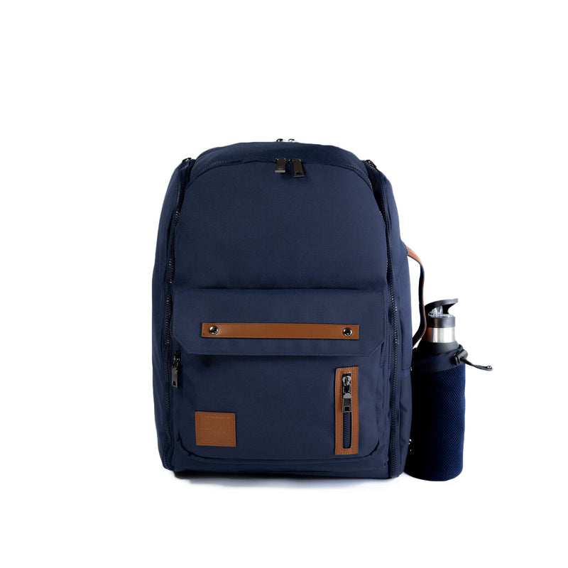 Navy Blue Backpack travel bag carry on gym bag water bottle holder recycled