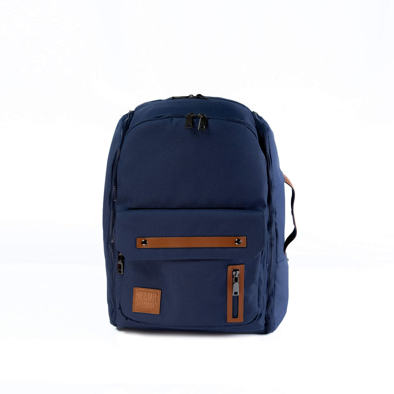 Navy Blue Backpack travel bag carry on gym bag recycled