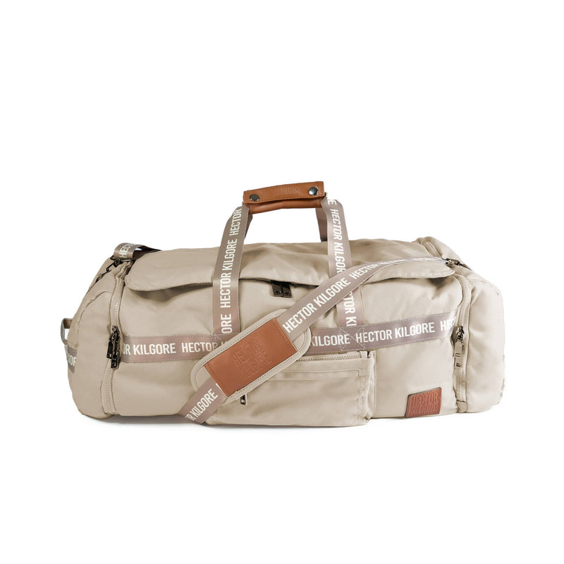 Beige Cream Duffle travel bag carry on gym bag recycled