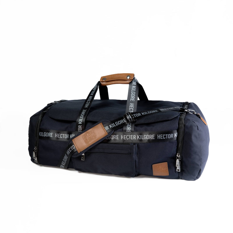 Black Duffle travel bag carry on gym bag recycled