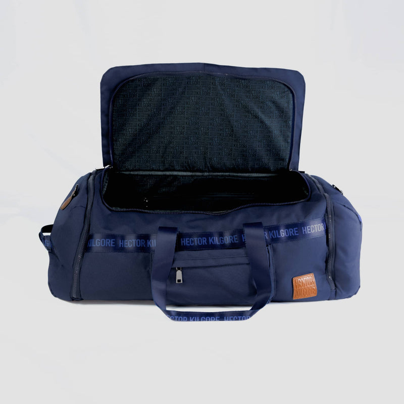 Navy Blue Duffle travel bag carry on gym bag recycled