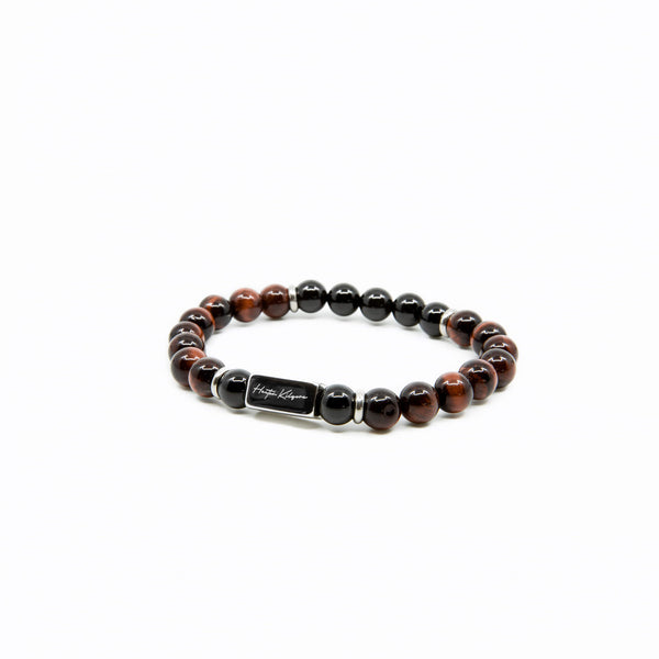 Mens Tiger Eye and Onyx Beaded Bracelet
