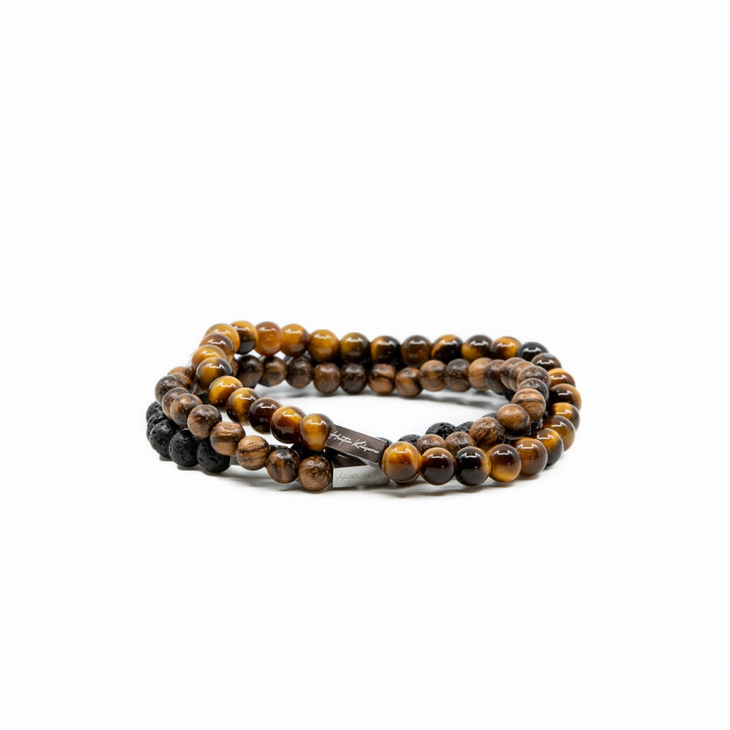 Mens and Womens Tiger Eye wood and lava beaded bracelet stack