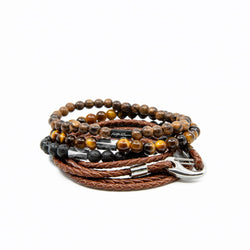 Mens and womens natural brown genuine leather wrap and beaded bracelet stack