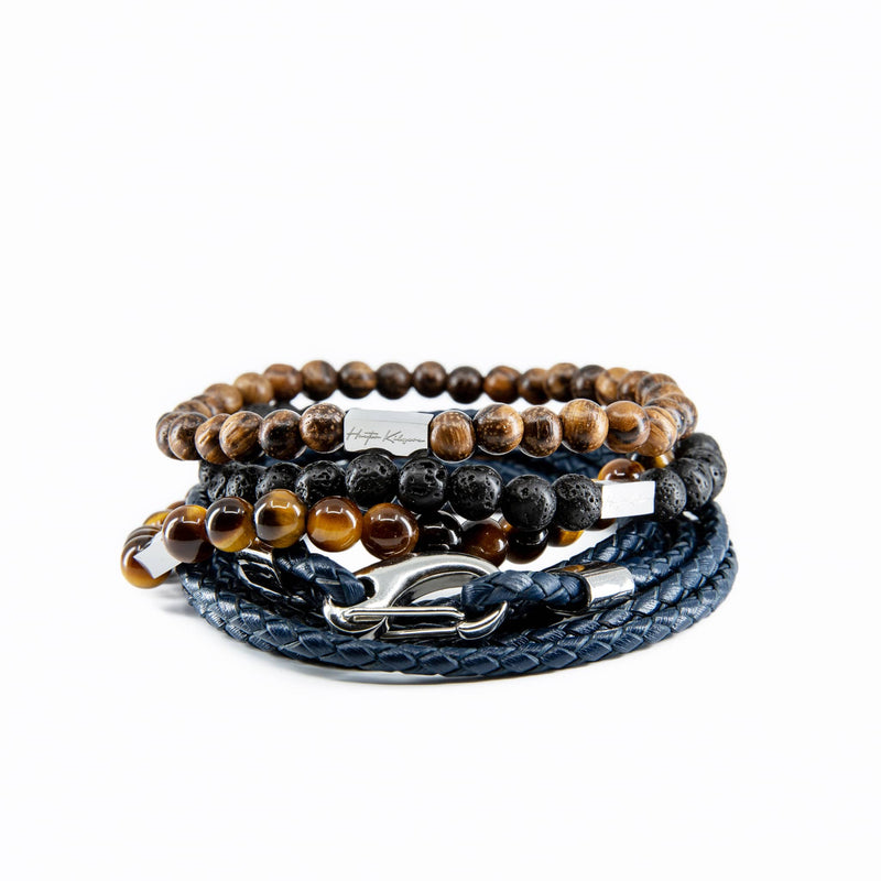 Mens and womens navy genuine leather wrap and beaded bracelet stack
