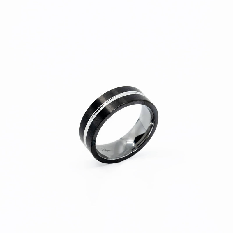 Mens black and silver tungsten ring