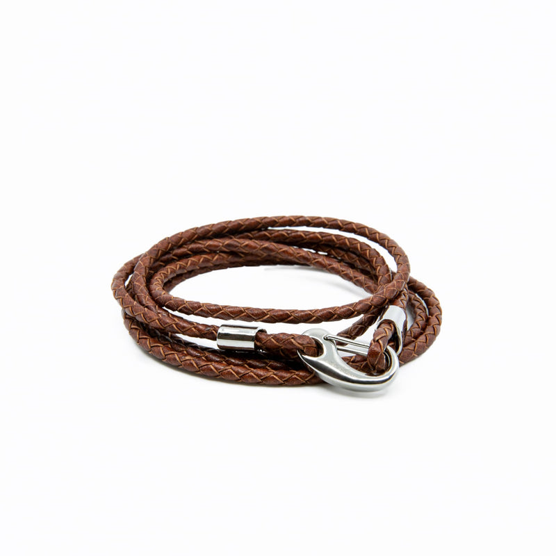 Mens and womens Natural Brown Genuine Leather Wrap Bracelet