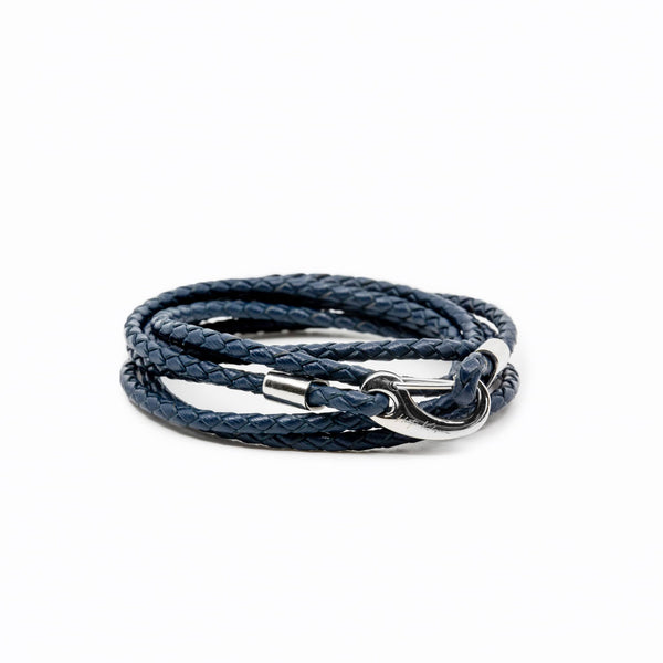 Mens and womens Navy Genuine Leather Wrap Bracelet