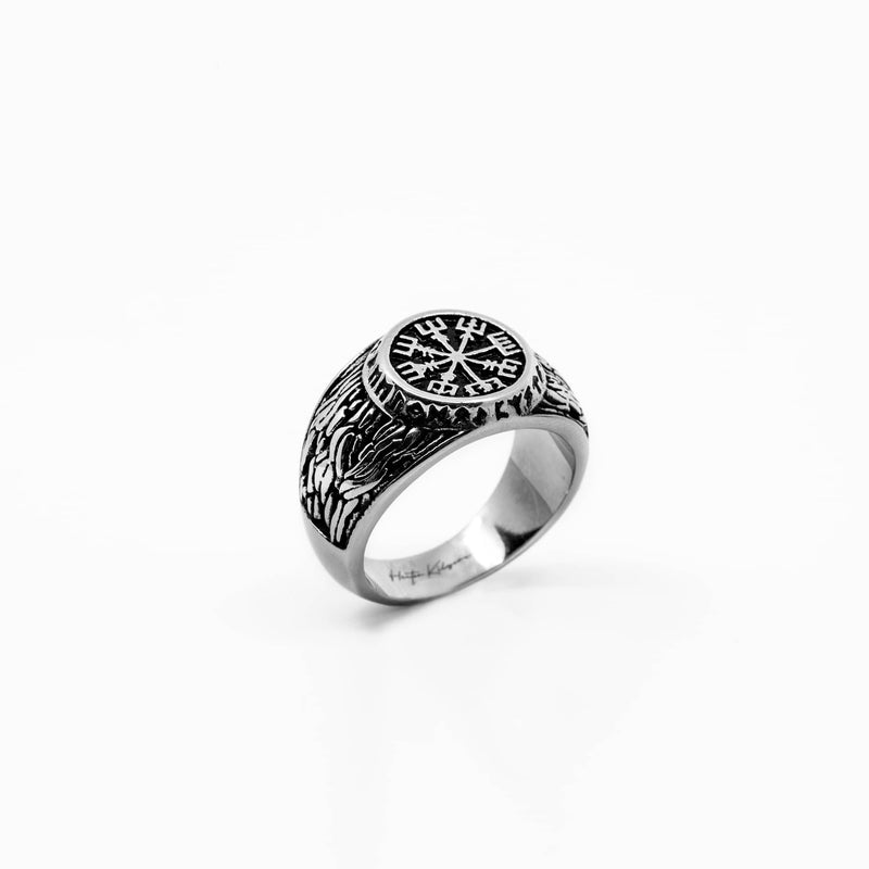 Mens silver stainless steel ring with design