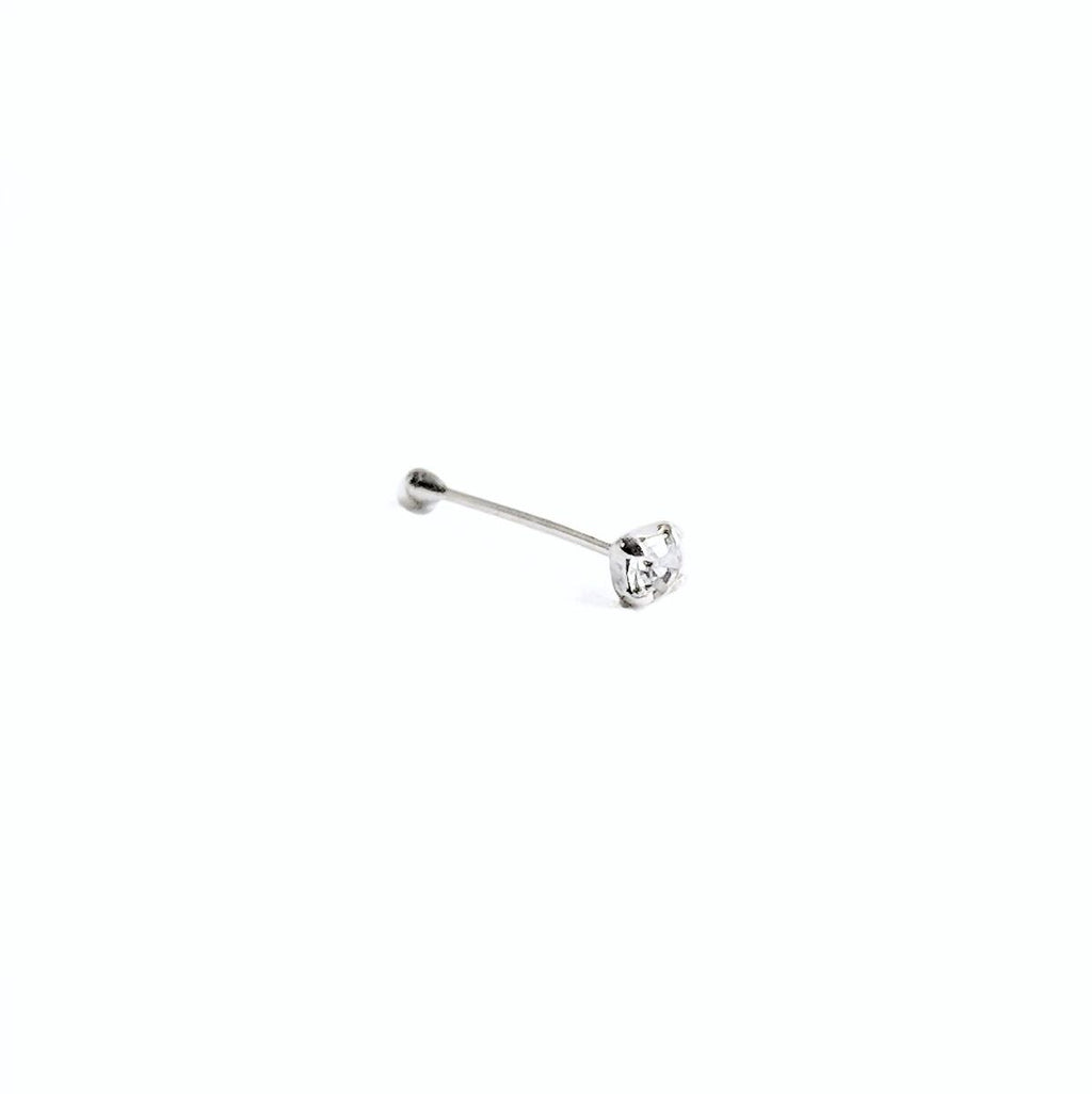 Sterling Silver Ball Back Nose Stud w/Clear Square Gem