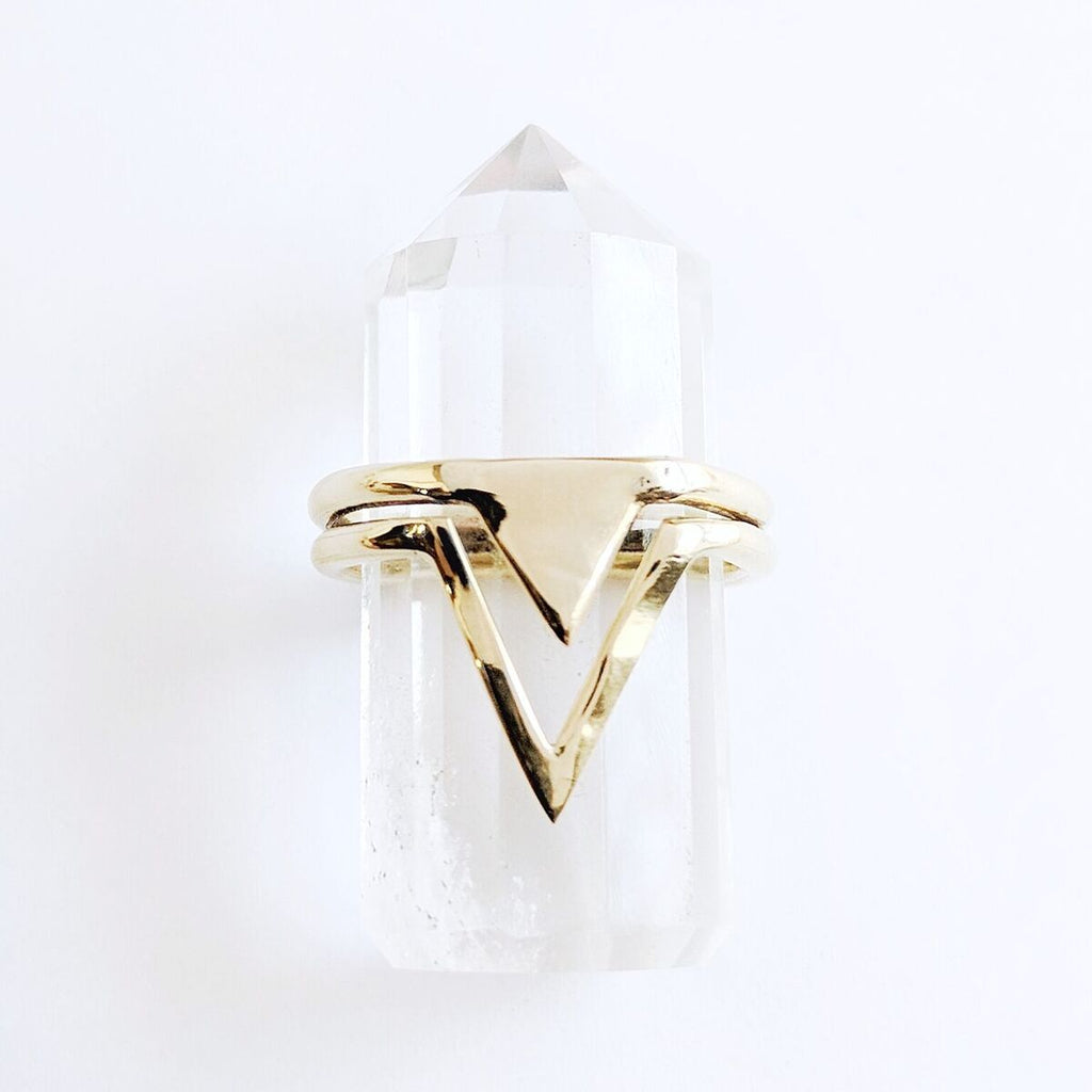 Brass Pointed Triangle Ring
