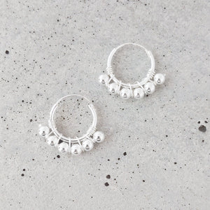 Small Sterling Silver Hoops Earrings w/Ball detailing
