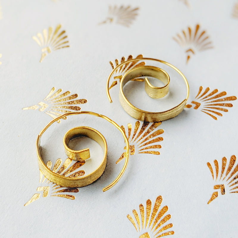 Brass Ribbon Swirl Earrings