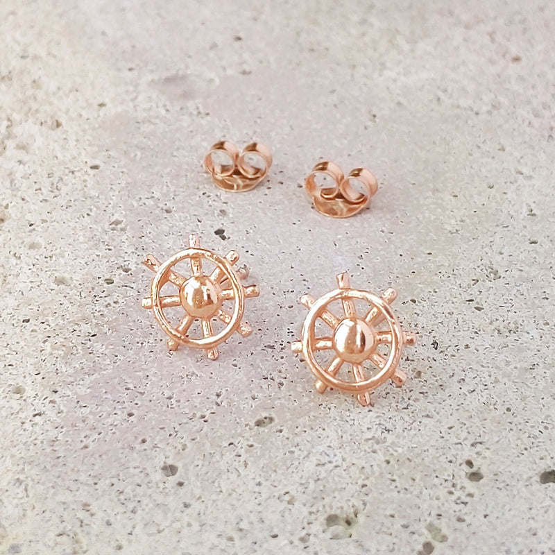 Rose Gold Plated Sterling Silver Ship Wheel Studs