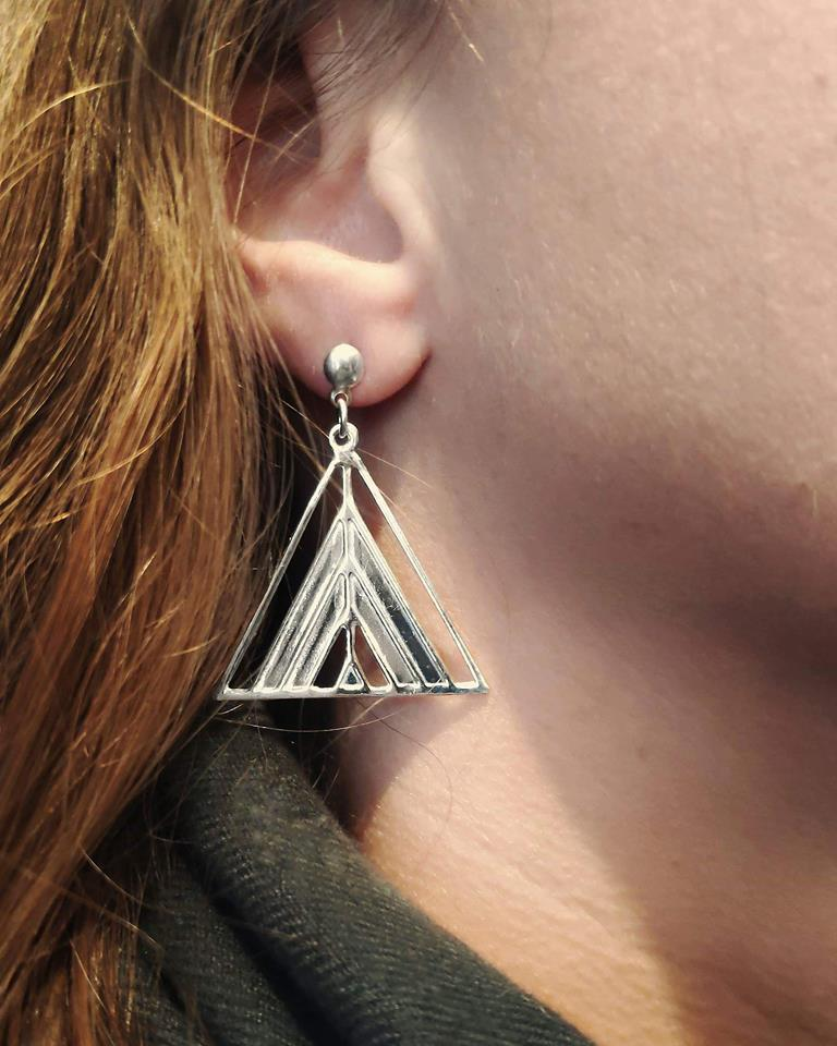 Sterling Silver Triangle Tent Earrings