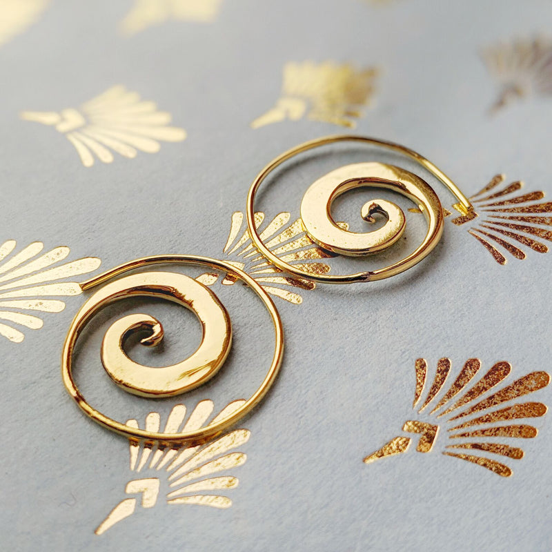 Flat Brass Spiral Earrings