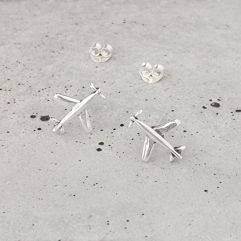 Sterling Silver Airplanes Studs
