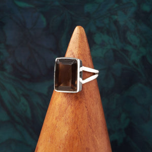 Sterling Silver Rectangle Smokey Quartz Ring