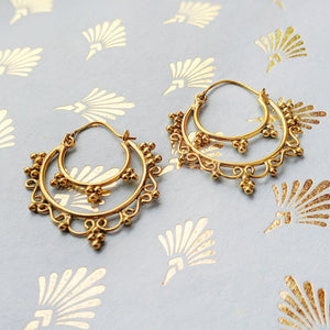 Brass Ornate Layered Hoops