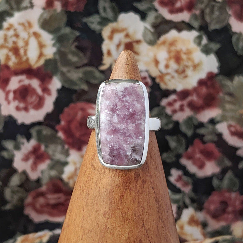 Sterling Silver Rectangle Lepadolite Stone Ring