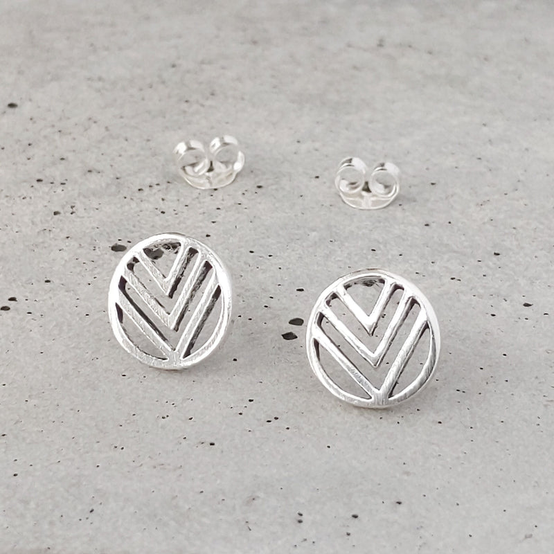 Sterling Silver Chevron Circle Studs
