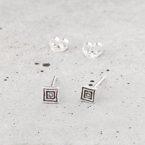 Sterling Silver Etched Square Studs