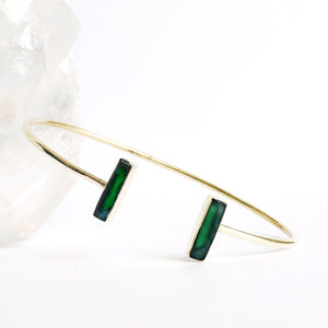 Adjustable Brass Green Onyx Bangle