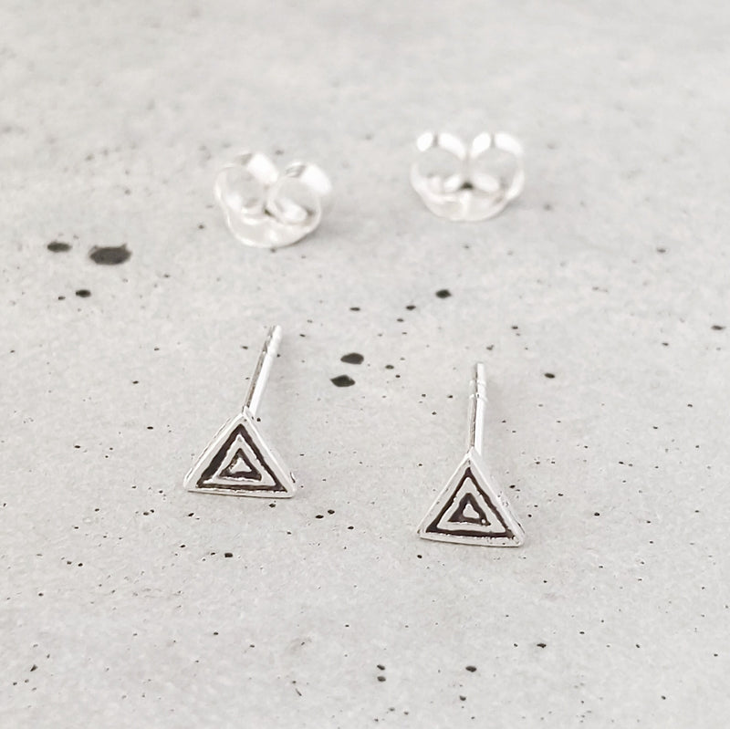 Sterling Silver Etched Triangle Studs