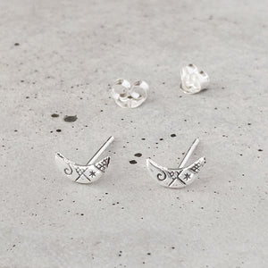 Sterling Silver Etched Crescent Moon Studs