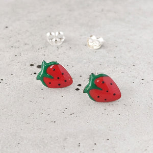 Sterling Silver Strawberry Studs
