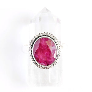 Faceted Sterling Silver Ruby Ring