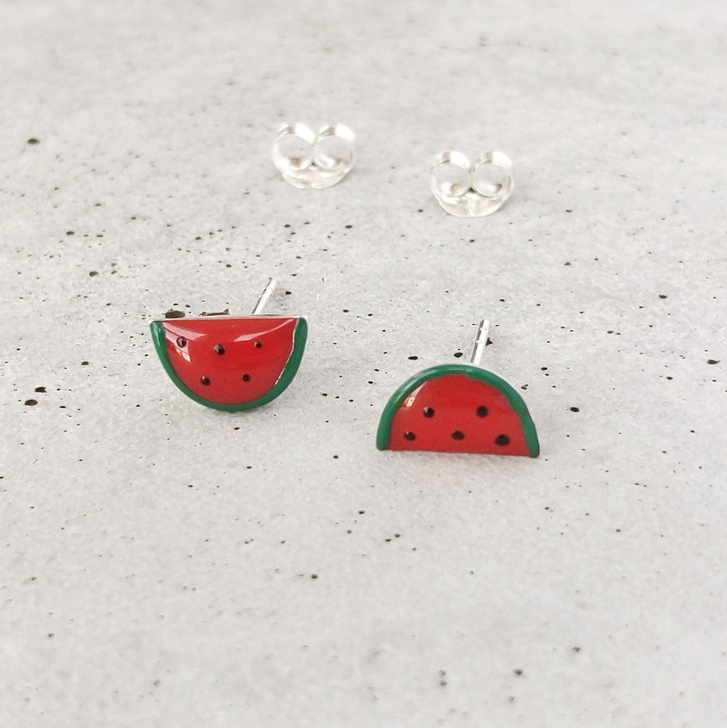 Sterling Silver Watermelon Studs