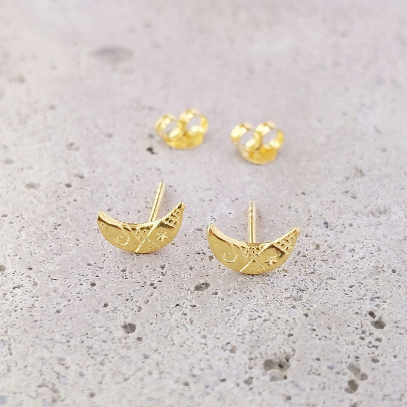 Gold Plated Sterling Silver Etched Crescent Moon Studs